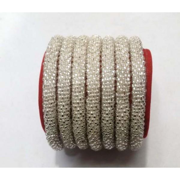 Roll on Glass Beads Bracelets - Solid Silver Color Bracelets - Fashion Bracelets - N-016
