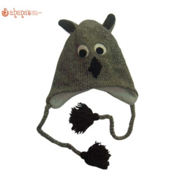 Woolen Animal Hat - Winter Hat - Children Hat - Knitted Hat - Woolen Funny Hat - Hand Knitted in Nepal - AN-005