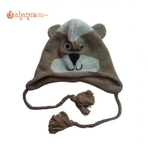 Woolen Animal Hat - Winter Hat - Children Hat - Knitted Hat - Woolen Funny Hat - Hand Knitted in Nepal - AN-006