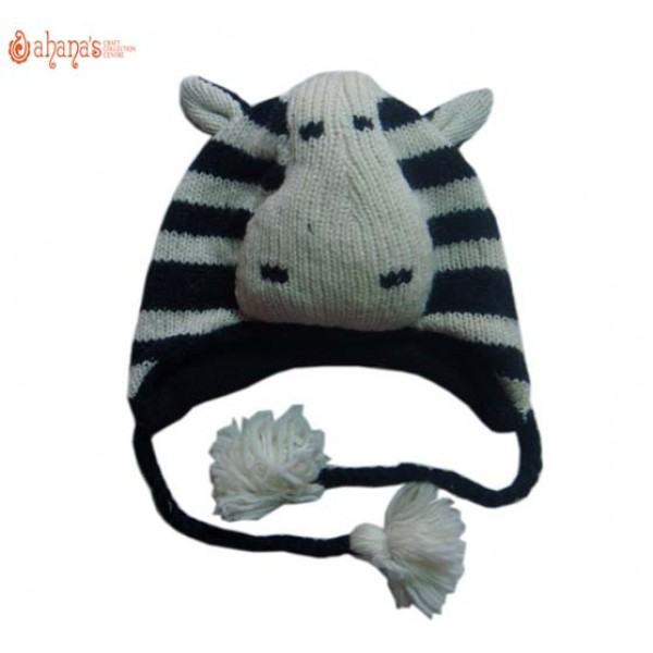 Woolen Animal Hat - Winter Hat - Children Hat - Knitted Hat - Woolen Funny Hat - Hand Knitted in Nepal - AN-010