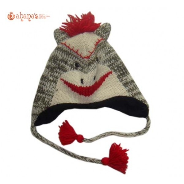 Woolen Animal Hat - Winter Hat - Children Hat - Knitted Hat - Woolen Funny Hat - Hand Knitted in Nepal - AN-015