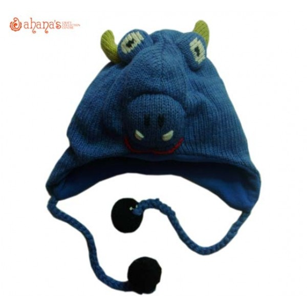 Woolen Animal Hat - Winter Hat - Children Hat - Knitted Hat - Woolen Funny Hat - Hand Knitted in Nepal - AN-017