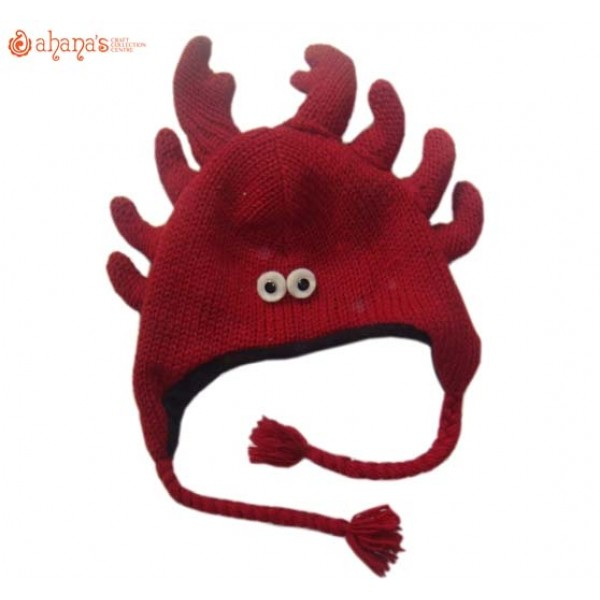Woolen Animal Hat - Winter Hat - Children Hat - Knitted Hat - Woolen Funny Hat - Hand Knitted in Nepal - AN-030