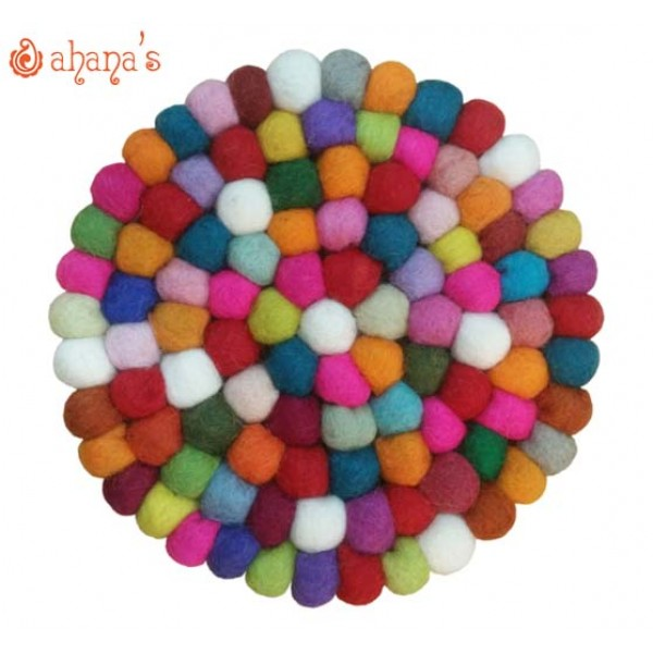 Felt Ball Pan Rug - Ball Rug - Ball Mat - Tea Coaster - Multi colored Felt Ball Rug - Ball Mat - Made in Nepal 20cm - PR-001