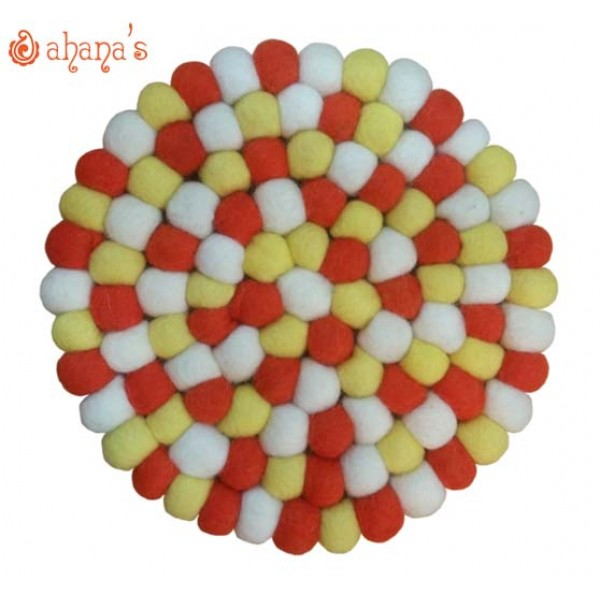 Felt Ball Pan Rug - Ball Rug - Ball Mat - Tea Coaster - Multi colored Felt Ball Rug - Ball Mat - Made in Nepal 20cm - PR-002