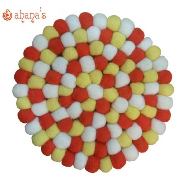 Felt Ball Pan Rug - Ball Rug - Ball Mat - Tea Coaster - Multi colored Felt Ball Rug - Ball Mat - Made in Nepal 20cm - PR-002