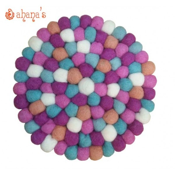 Felt Ball Pan Rug - Ball Rug - Ball Mat - Tea Coaster - Multi colored Felt Ball Rug - Ball Mat - Made in Nepal 20cm - PR-003