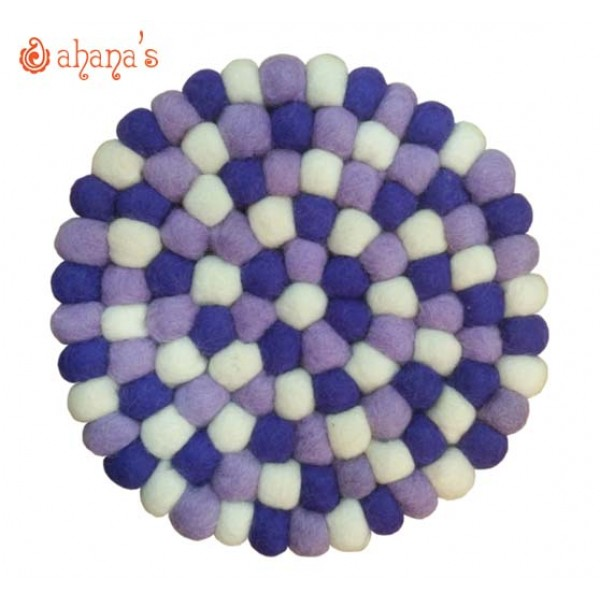 Felt Ball Pan Rug - Ball Rug - Ball Mat - Tea Coaster - Multi colored Felt Ball Rug - Ball Mat - Made in Nepal 20cm - PR-004