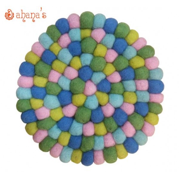 Felt Ball Pan Rug - Ball Rug - Ball Mat - Tea Coaster - Multi colored Felt Ball Rug - Ball Mat - Made in Nepal 20cm - PR-005