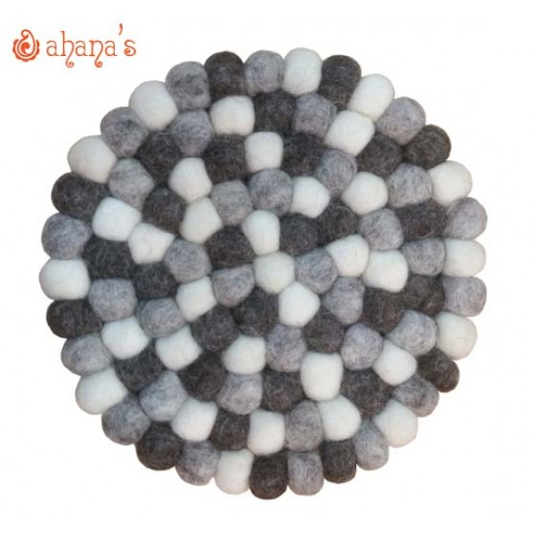 Felt Ball Pan Rug - Ball Rug - Ball Mat - Tea Coaster - Multi colored Felt Ball Rug - Ball Mat - Made in Nepal 20cm - PR-006