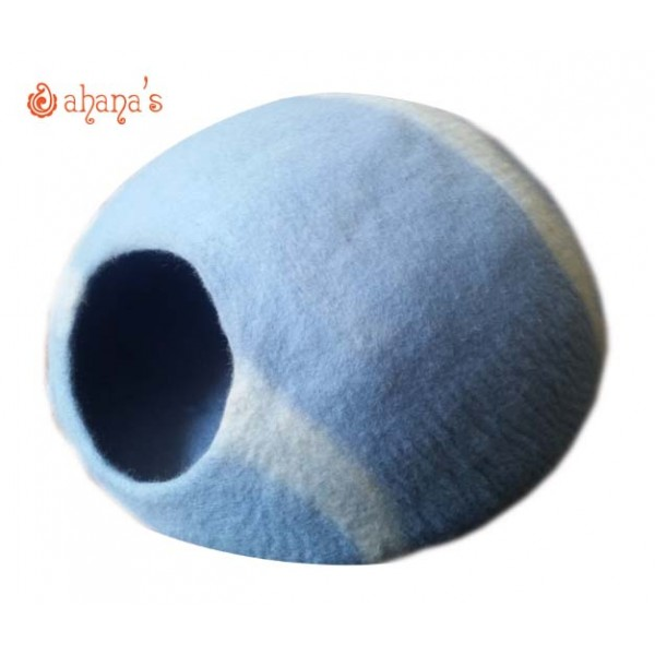 Nepal Felt Cat Cave Handmade in Nepal -  Cat Bed - Pet Bed - Puppy Bed - Cat House - 100% Wool - CA-043