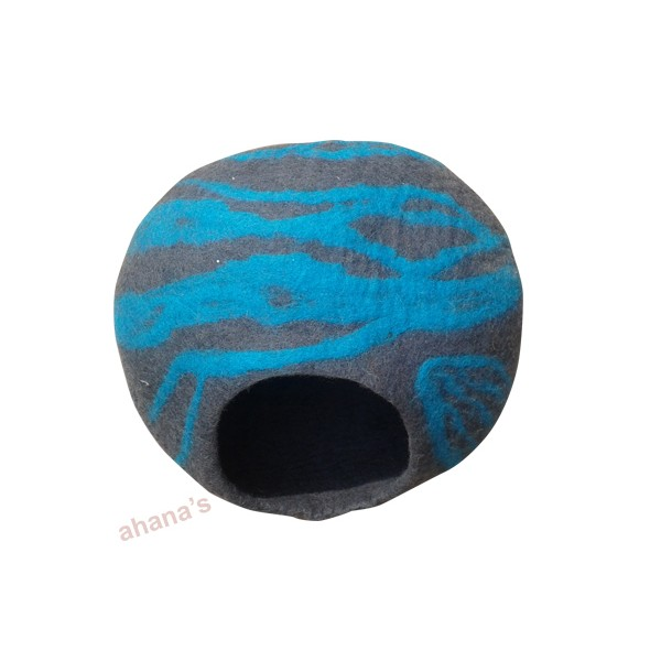 Nepal Felt Cat Cave Handmade in Nepal -  Cat Bed - Pet Bed - Puppy Bed - Cat House - 100% Wool - CA-023