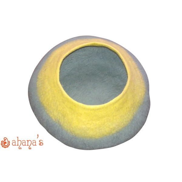 Nepal Felt Cat Cave Handmade in Nepal -  Cat Bed - Pet Bed - Puppy Bed - Cat House - 100% Wool - CA-032