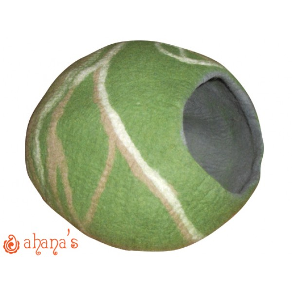 Nepal Felt Cat Cave Handmade in Nepal -  Cat Bed - Pet Bed - Puppy Bed - Cat House - 100% Wool - CA-036