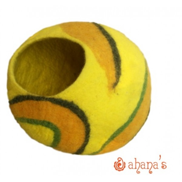 Nepal Felt Cat Cave Handmade in Nepal -  Cat Bed - Pet Bed - Puppy Bed - Cat House - 100% Wool - CA-055