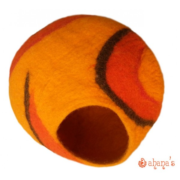 Nepal Felt Cat Cave Handmade in Nepal -  Cat Bed - Pet Bed - Puppy Bed - Cat House - 100% Wool - CA-056