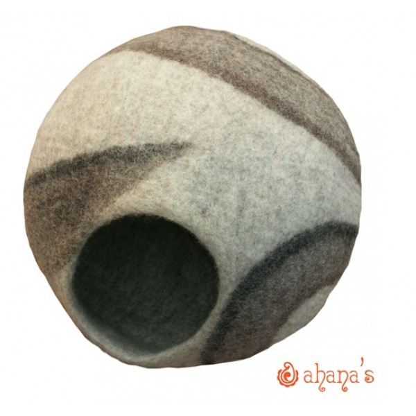 Nepal Felt Cat Cave Handmade in Nepal -  Cat Bed - Pet Bed - Puppy Bed - Cat House - 100% Wool - CA-057